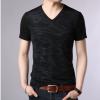2018夏季新品男式V领修身T恤韩版时尚休闲男士短袖t恤男装上衣