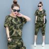 休闲运动套装女2018夏季新款韩版时尚迷彩大码两件套短袖跑步服潮