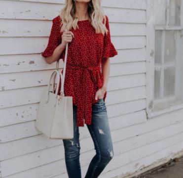 跨进女装2018欧美大码女装 红色波点圆领中袖修身衬衫有腰带