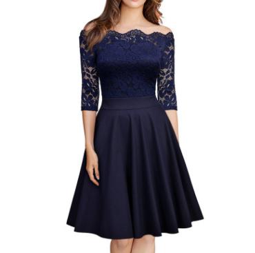 跨境女装2018优质欧美女装纯色 一字肩中袖修身连衣裙