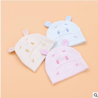 靓冠儿春秋棉新款婴幼儿童帽子1-4个月男女宝宝套头胎帽