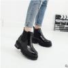 欧美新款钱夫人秋冬韩版漆皮厚底短靴布洛克粗跟英伦女鞋马丁靴