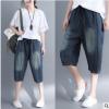 夏全棉超薄条纹宽松中裤做旧休闲凉爽女牛仔裤