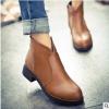 2018秋冬新款尖头短靴女欧美粗跟马丁靴低跟女靴套脚裸靴厂家批发