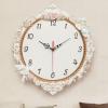 欧式创意客厅挂钟时尚墙上钟表卧室静音时钟精美树脂雕花石英钟