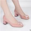 时尚韩版金属搭扣低帮女式粗跟单鞋潮流百搭方头纯色中跟浅口女鞋