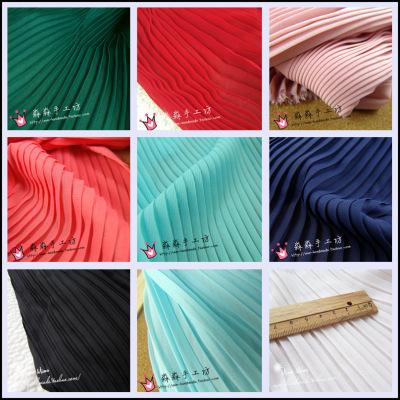 厂家供应纯色百褶雪纺布料 批发新款春秋压绉平纹百褶雪纺布料