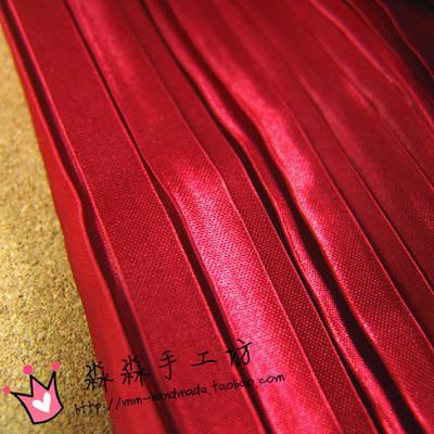 服装DIY布料 红色亮面风琴褶百褶缎面色丁布 包装盒批发沙丁面料