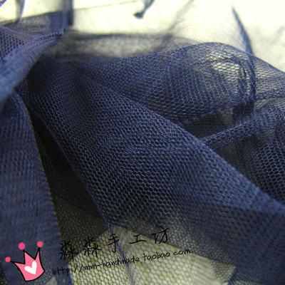 藏青色微硬涤纶网纱面料 批发深蓝色蓬蓬裙婚纱礼服蕾丝网纱面料