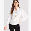 2018欧美跨境秋季女装新款 衬衣女长袖纽扣装饰职业女装白色