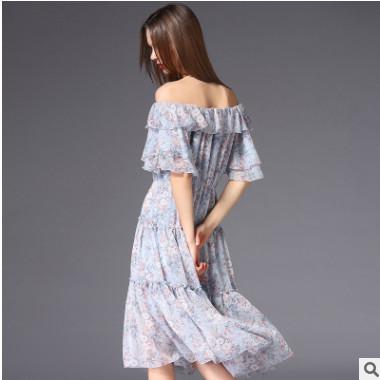 仙女裙2018新款女装修身碎花性感初恋裙一字肩连衣裙蛋糕裙长裙女