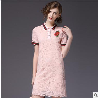 2018春季新款女装翻领勾花镂空气质蕾丝大码连衣裙品牌女装代理