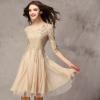 2018新款欧美女装 修身蕾丝拼接连衣裙七分袖大摆雪纺裙