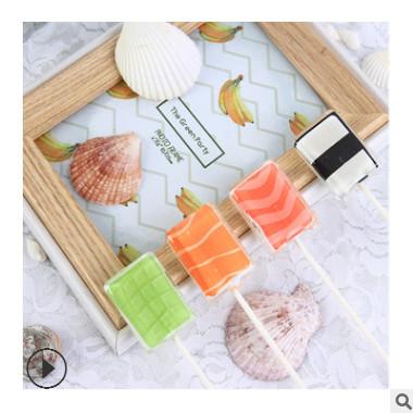 脱普哈喽刺身寿司型方形无糖照片棒棒糖学生创意搞怪零食厂家批发