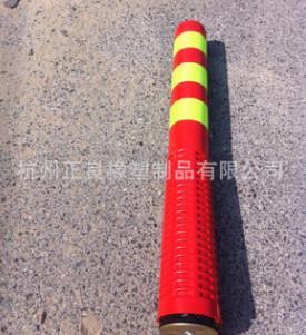 设计生产5cm厚强型磁钢 直径80*75 红色PU软性塑料示警柱警示柱