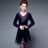 秋优雅中年女装长袖金丝绒连衣裙