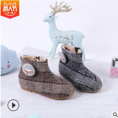 儿童雪地靴2018秋冬新款童鞋加绒保暖棉鞋 韩版时尚棉靴 厂家批发