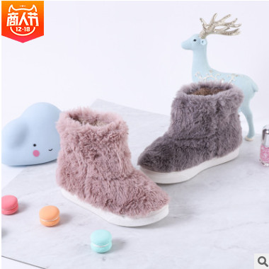 Kids Talk冬季兔毛儿童短靴女童平底防滑棉鞋韩版原创公主童靴