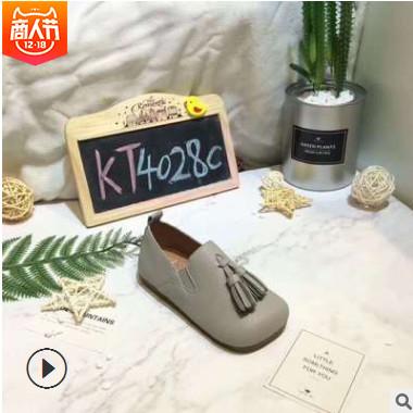 Kids Talk童鞋韩版方头复古英伦风春秋新品女童豆豆鞋单鞋儿童鞋