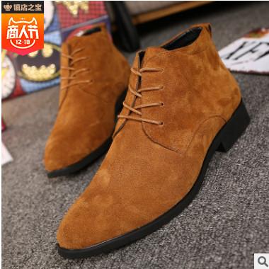 一件代发商务皮鞋男英伦尖头德比鞋中帮系带青年休闲鞋韩版鞋子潮