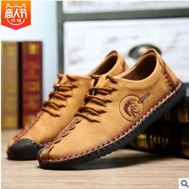 一件代发新款秋季男鞋爆款复古休闲鞋时尚皮鞋男士商务男士鞋子