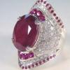 跨境 wish热卖镶嵌天然红宝石镀925银戒指 欧美夸张满钻订婚指环