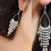 1370新款韩国夸张柳钉流苏耳环耳坠 超长款水钻耳线耳饰批发 女