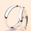 S999纯银情侣戒指一对简约时尚个性男女活口对戒刻字开口光面素戒