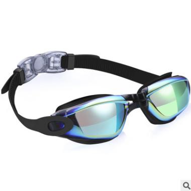 亚马逊爆款电镀炫彩游泳眼镜 高清防水防雾男女大框成人泳镜