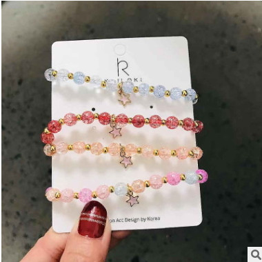 韩国东大门气质甜美天然石水晶手链五角星简约气质清新手镯手饰品
