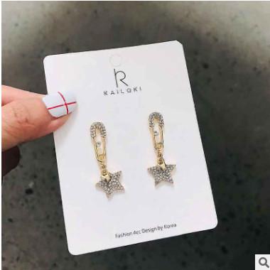 s925银针创意别针耳环女星星耳坠长款气质韩国个性百搭耳钉五角星