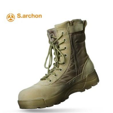 高帮作战靴户外沙漠战术靴保安登山鞋钢头