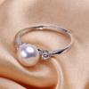 淘宝热款珍珠戒指镀白金双钻简约活扣指环 韩版时尚开口指环