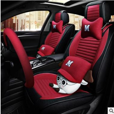 适用于车载汽车座套亚麻四季通用全包座位套专用四季垫宝来朗逸弗
