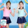 儿童泳衣女中大童 日系小清新时尚百褶裙分体两件套 厂家批发代发