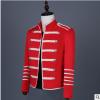 明星同款亚博体育app在线下载修身红色皮衣个性朋克外套2019新款男士休闲西装外套
