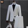 男士白色演出西服套装西装主持人礼服舞台歌手成人演出合唱礼服装