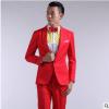 高档新款韩版男士礼服西服彩色西装结婚舞台主持演出影楼男装套装