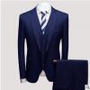 中年西服男套装三件套商务休闲格子西装影楼新郎礼服装厂家直销