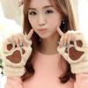 跨境爆款韩版保暖手套女 刺绣熊掌猫爪半指毛绒手套 冬季手套批发