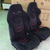 直销改装汽车座椅双滑道可调节黑色麂皮绒红色镶条运动赛车椅