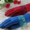 加工定制保暖触屏手套男女韩版提花针织手套雪花抓绒五指魔术手套