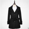 现货黑色毛呢大衣冬季首选中长款修身可来图定制长期供应