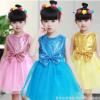 女童公主裙礼服六一儿童演出服少儿蓬蓬裙亮片纱裙幼儿表演舞蹈服