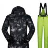 跨境专供 滑雪服男套装户外防风防水保暖透气黑涂鸦滑雪衣裤套装