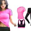 瑜伽专业健身房跑步瑜伽服女 修身短袖大码速干三件套运动套装