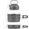 豪嘉乐跨境专供 户外套锅带茶壶 带配件套锅组合氧化铝野营套锅壶