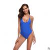 跨境欧美bikini泳衣外贸新款性感连体泳装纯色高腰泳衣女爆款批发