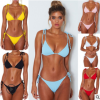 2019年欧美WISH亚马逊新品厂家6色比基尼 坑条绑带女士泳衣Bikini