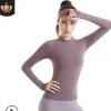 新款女士运动户外健身服弹力速干小立领瑜伽长袖T恤健身房瑜伽服